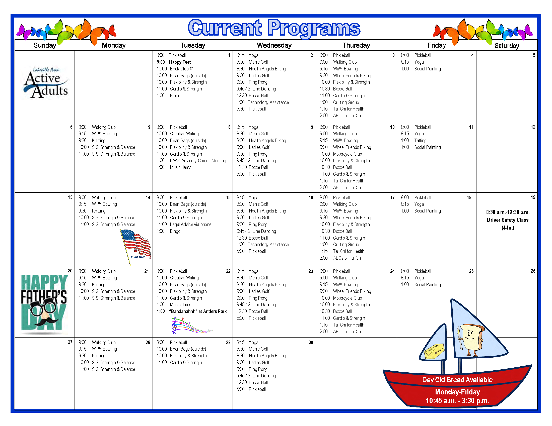 Active Adults Calendar