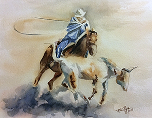 Cowboy on a horse painting by Rita Ryan