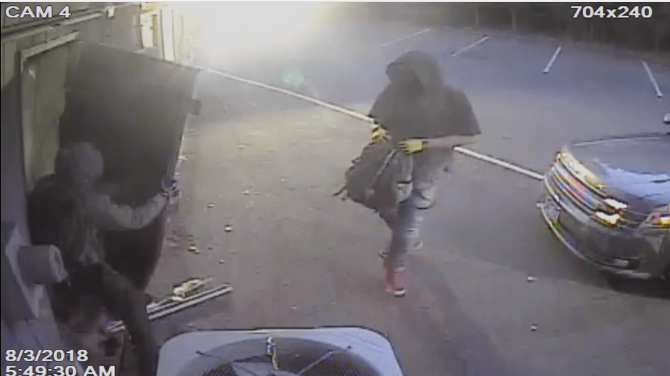 burglary suspects in hoodies from surveillance camera