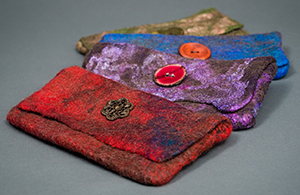 colorful felted clutch purses